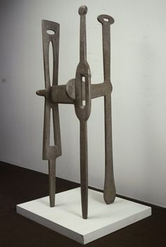 Isamu Noguchi, The Gunas, 1946, 3 pieces of carved interlocking marble which rely on each other to stay in tact. Whitney Museum of American Art