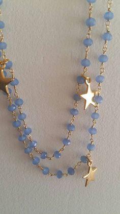 Collana lunga calcedonio azzurro filo argento e di BanjoBijoux