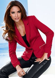 Red zipper pocket blazer available in sizes 2 - 14