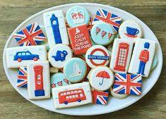 Royal Icing Cookies, Cake Cookies, Sugar Cookies, British Cookies, England Cake, Princess Sweet 16, Bon Voyage Party, British Party, London Party