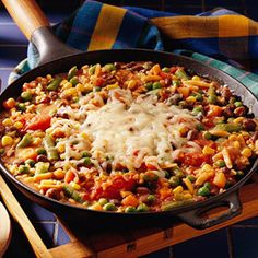 Hearty Rice Skillet: Take your choice of black, garbanzo, or kidney beans for this vegetarian main dish. ( For whatever reason i did not like this recipe. -something with the mixed vegetables in with the other ingredients, or because i was trying to adapt the recipe for not having tomato soup. )