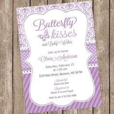 Butterfly kisses baby shower invitation by ModernBeautiful on Etsy
