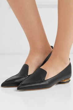 359d5f0c0da Nicholas Kirkwood Beya Textured-leather Point-toe Flats - Black   Beya Textured