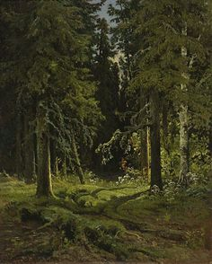 Forest Landscape, 1878 by Ivan Shishkin. Forest Landscape, Landscape Art, Landscape Paintings, Landscapes, Tree Paintings, Fantasy Forest, Forest Art, Russian Painting, Russian Art