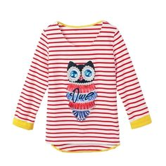 (9.88$)  Watch more here - http://aieny.worlditems.win/all/product.php?id=G0767R-M - Fashion Women T-Shirt Owl Pattern Beading Stripe Asymmetric Hem Crew Neck 3/4 Sleeve Tops