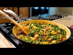 Greek Style Green Peas and Potato Stew/ Arakas – Food: Veggie tables Veg Recipes, Greek Recipes, Cooking Recipes, Meatless Recipes, Cooking Videos, Greek Potatoes, Stewed Potatoes, Best Appetizers Ever, Yummy Appetizers