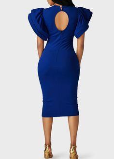 Mock Neck Cutout Back Petal Sleeve Sheath Dress on sale only US$33.48 now, buy cheap Mock Neck Cutout Back Petal Sleeve Sheath Dress at liligal.com