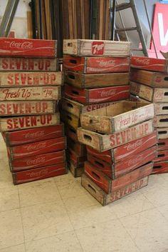 Caixotes de refrigerante antigos