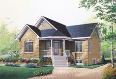 House Plan 76156 - Bungalow , Traditional , House Plan with 1019 Sq Ft, 2 Bed, 1 Bath Cottage Style House Plans, Bungalow House Plans, Family House Plans, Cottage Style Homes, Craftsman House Plans, Country House Plans, The Plan, How To Plan, Plan Chalet