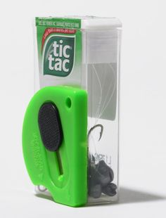 Make a Tackle Box That Fits in Your Pocket  An empty Tic Tac box makes a great miniature tackle box for baitfishing. First, I crazy-glued a small, circular-shaped box cutter (for cutting line) to the side of the con-tainer. Then I filled it with hooks, snap-swivels, and weights. Carry it in your pocket, or your glove compartment. -- Ray Koch, Bullard, Texas