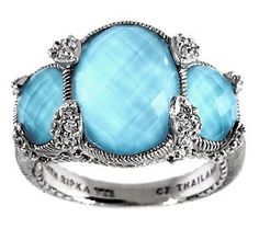 Judith Ripka Sterling & Turquoise Doublet Oval 3-Stone Ring