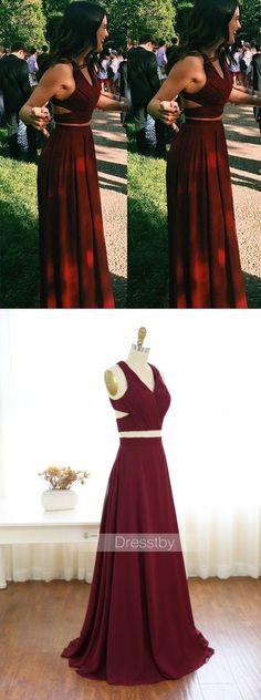 Two pieces burgundy chiffon long prom dress, evening dress#promdresses #eveningdresses #longpromdresses #2018promdresses #fashionpromdresses #charmingpromdresses #2018newstyles #fashions #teensprom