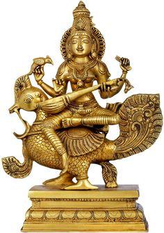 The Enchanting Devi Sarasvati Seated On Her Peacock, Hindu Brass Statue Saraswati Idol, Saraswati Statue, Saraswati Goddess, Kali Goddess, Saraswati Mata, Durga, Indian Traditional Paintings, Indian Art Paintings, Peacock For Sale