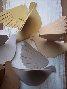 Paper Birds--Molly Bird--Five Natural Birds Paper Birds, Paper Flowers, Diy And Crafts, Paper Crafts, Paper Purse, Crochet Birds, Brown Bird, Bottle Candles, Church Banners