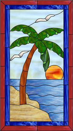 stained glass ocean scenes | Palm Window Decorative Window Film