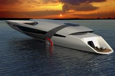 The futuristic all-electric Tesla Yacht Model Y, uses solar panels to harness the sun's energy.    The 40 meters Tesla Model Y concept designed by Dhruv Prasad, uses a hydroelectricity turbine system that collects energy as it moves through
