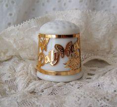 DollyWood Porcelain Thimble 24K Gold Finish by cynthiasattic, $29.00