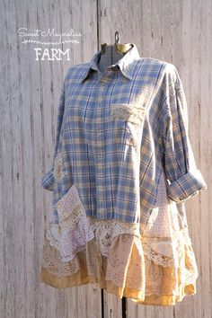 Farm Girl Fancies Upcycled Flannel Shirt / Jackets by: Sweet Magnolias Farm (To Read entire description please click on the +MORE in the bottom left of description) Original size Mens XL . ( please check measurements) Approx. Shoulders 21-1/2 Bust Up to 52 Length 32-1/2 Hips