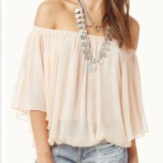 Boho Pale peach off the shoulder gauze blouse Boho Pale peach off the shoulder gauze blouse NWOT Tops Blouses