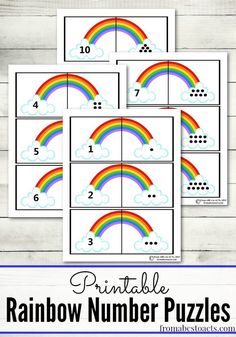 Rainbow Number Puzzles for Preschoolers St. Patrick's Day is coming up! Practice counting with these fun rainbow number puzzles. Patrick's Day is coming up! Practice counting with these fun rainbow number puzzles. Numbers Preschool, Preschool Themes, Preschool Learning, Kindergarten Math, Rainbow Crafts Preschool, Rainbow Learning, Rainbow Activities, Number Activities, Spring Activities