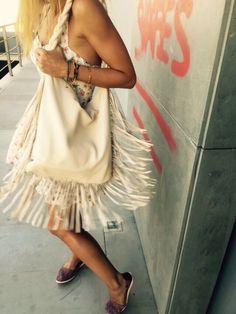Handbag#Leather#white#tassels