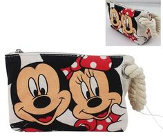 21978f25ff New Disney Mickey Mouse Minnie Mouse Canvas Cosmetic Bag Pencil bag