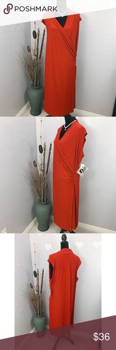 Norma Kamali Women's Plus Red Faux Wrap Dress 3X ❤Spots by the edges back right sides. Refer to the last picture provided❤  Refer to measurement provided below for the best fit. It was laid flat, might be off couple inches: Armpit across: approx 24 Length: 43 Norma Kamali Dresses