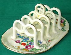 Crown staffordshire hollyhocks five bar toast rack Five Bar, Toast Rack, Letter Holder, Hollyhock, Egg Cups, China Patterns, Vintage Kitchen, Pottery, Dishes