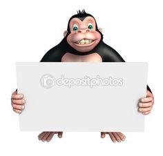 Lindo personaje de dibujos animados de gorila con tablero blanco — Imagen de…