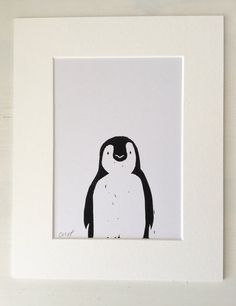 Linocut Print - Penguin Print - Birthday Gift - Wedding Gift - Home Decor - Penguin Picture - Print - framed print - Penguin - nursery - Wedding Home Decoration Penguin Nursery, Penguin Art, Wedding Cards Handmade, Gift Wedding, Handmade Cards, Linoprint, Chalk Pastels, Tampons, Wood Engraving