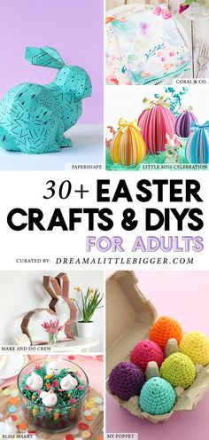 Finding good Easter crafts that are awesome and mature enough for adult crafters isn't easy. Today we've rounded up over 30 of our favorite Easter Crafts for Adults! Easter Crafts For Toddlers, Easter Activities, Toddler Crafts, Easter Ideas, Easter Recipes, Spring Crafts, Holiday Crafts, Diy Osterschmuck, Diy Ostern