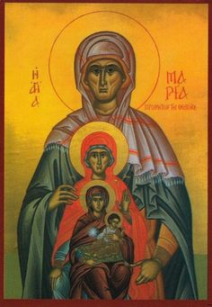 Orthodox icon of the Foremothers of our Jesus Christ: Saint Maria, the mother of Saint Anna, Saint Anna -mother of Theotokos-, Theotokos with Christ. Icon of cent. Monastery of Theotokos of Saidanaya, Jerusalem. Byzantine Icons, Byzantine Art, Religious Images, Religious Art, Statues, Blessed Mother Mary, Catholic Art, Catholic Memes, St Anne