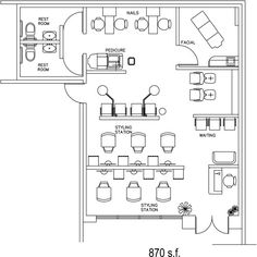 Beauty Salon Floor Plan Design Layout 650 Square Foot Hair
