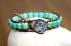 Turquoise Bohemian beaded leather wrap bracelet by OlenaDesigns, $28.00