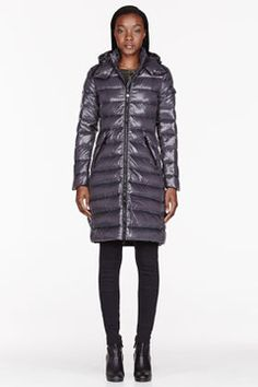 MONCLER Charcoal quilted Down Moka coat on shopstyle.com