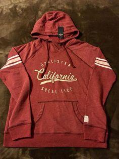 3488e1570723 Hollister Womens Teen size Large Burgundy hoodie Logo sweatshirt  fashion   clothing  shoes