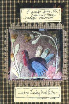 "Turkey Lurkey appliqué pillow.  Wool Applique pattern by Maggie Bonanomi - wool pillow pattern 12"" x 12"""