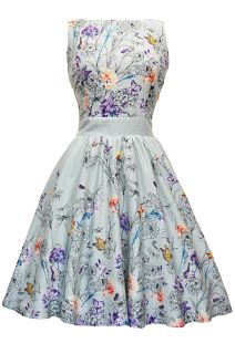Mint Green Butterfly Floral Tea Dress: Lady Vintage