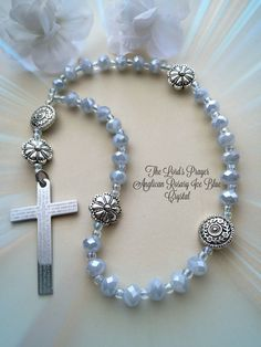 Protestant Prayer Beads, The Lord's Prayer Cross Rosary, Anglican Rosary, Episcopalian Prayer Beads, Ice Blue Crystal and Silver Rosary by FaithExpressions on Etsy