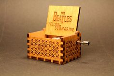 Engraved  wooden music box Yellow Submarine  by InvenioCrafts