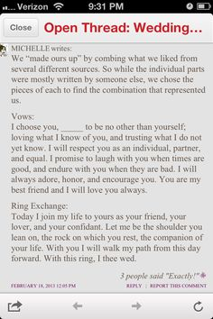 For vows and exchanging of rings. Each person would say the vow separately and then the ring exchange part separately. One could go first for the vow and the other could go first for the exchange to show more equality. This text highlights the importance and sanctity of choosing your spouse, which became a fundamental right as marriage changed (Chauncey).
