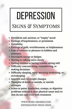 Signs and Symptoms of Depression Mental Health Journal Prompts Rose-Minded California Mental Health Journal, Mental Health Quotes, Mental Health Awareness, Mental Health Therapy, Mental Health Counseling, Mental Health Test, Mental Health Definition, Mental Health Nursing, Mental Health Problems