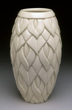 Custom Made Leaf and Diamond Motif Porcelain Vase