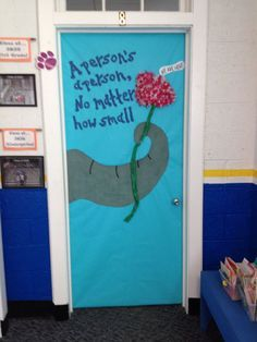 Check out my Seuss-tastic Horton hears a Who door! Bulletin board and door decoration.