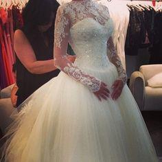 Vestido de noiva Wedding dresses Tube top Luxurious Long sleeve Lace Wedding dress Wedding gown Robe De Mariage