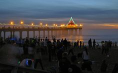Glowsticks galore at the Manhattan Beach Yuletide (sunset run on the flat sand on the evening of the winter solstice). Manhattan Beach Pier, Winter Solstice, Glow, Sparkle, Events, Sunset, Amazing, Places, Inspiration
