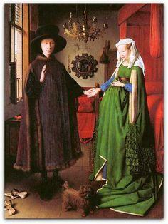 Jan van Eyck - O casal Arnolfini, 1434 Sua mestria perfeita na pintura a óleo permitiu à Van Eyck obter côres intensas, como este verde deslumbrante valorizando melhor a jovem mulher. O quadro vai indicar o caminho a ser seguido aos artistas do Cinquecento.  O poder da côr: O duelo primário entre o verde e o amarelo Intimamente ligadas, elas disputam o terceiro lugar no pódio das côres primárias: difícil contar a história do amarelo sem falar do verde; e vice versa.