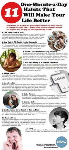 11 One Minute A Day Habits That Will Make Your Life Better tips infographic self improvement self help tips on self improvement self improvement infographics