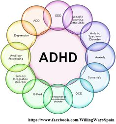 Just a few of the many disorders associated with ADHD. Many have similar symptoms and impairments. Getting the correct diagnosis is further confused by the high comorbidity rates associated with ADHD. (View only)