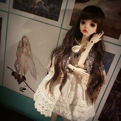 Pid's other outfit, with her newly made necklace.   #bjd #dim #larina #dollinmind #faceup #doll #costum #artdoll #kawii #cute #dolls #wig #clothing #handmade #jewellery #lolita #mori #Hat #cap #dress #top #skirt #headgear #crochet #knitting #sew #fabric #yarn #lace #ribbon #felted #fluffy